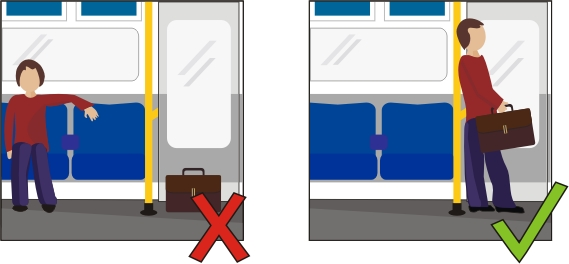 Top Tube Travel Tip one diagram, showing someone sitting away from his luggage